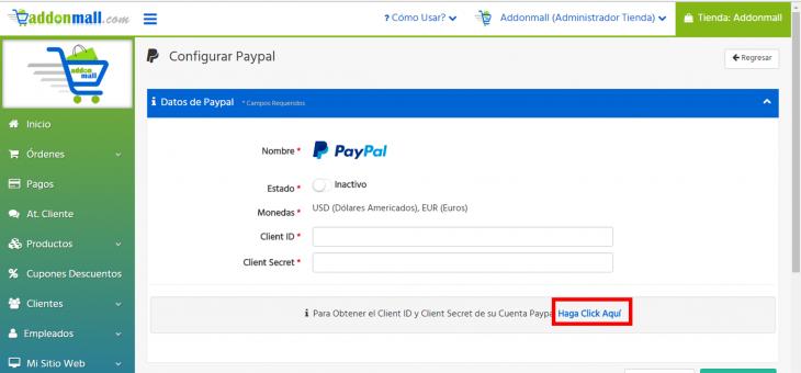 Cómo configurar Paypal en una tienda virtual Addonmall