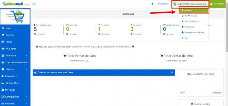 Cómo cambiar los datos de acceso a mi tienda online Addonmall