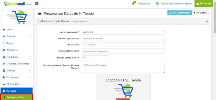 Cómo modificar y personalizar los datos de mi tienda virtual Addonmall