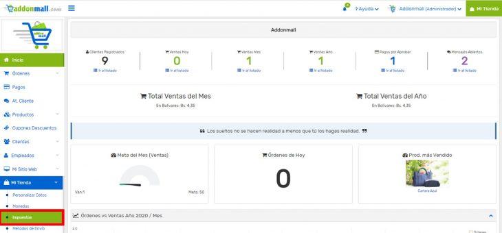 Cómo configurar los impuestos en mi tienda virtual Addonmall