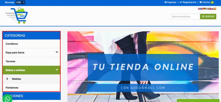 Cómo agregar categorías y subcategorías de productos en tu Tienda Online