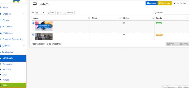 Cómo agregar o editar imágenes del slider de tu Tienda Virtual