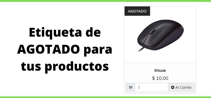 Etiqueta de Agotado para los productos