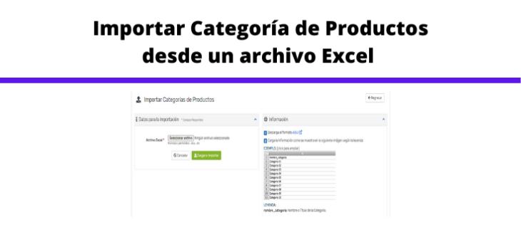 Importar categorías desde un archivo excel