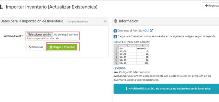 Cómo usar el importador de inventario (Actualizar Existencia) desde un archivo excel