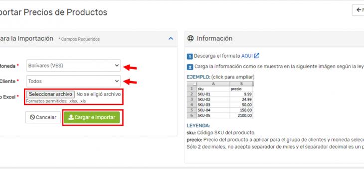 Cómo usar el importador de precios desde un archivo excel