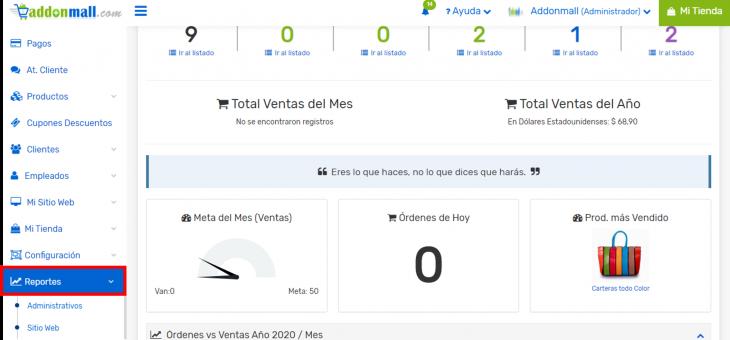 Cómo generar reportes de Mi Tienda Virtual Addonmall